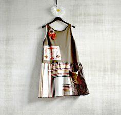 Women's Sundress Olive Green Retro Clothing Bohemian Dress Tank Style Upcycled Summer Hippie XL