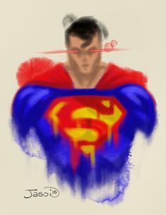 An abstract digital watercolor of the big blue boyscout, Superman.