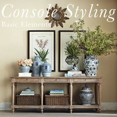 Console table could be useful in several spots: behind sofa in existing location, beside media cabinet or if furniture were rearranged. An alternative would move two armchairs or sofa to face fireplace and put slim console table bedind. Decor, Driven By Decor, Entryway Console Table, Furniture, Interior, Entryway Decor, Home Decor, Sunburst Mirror, Room Decor