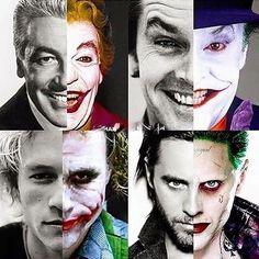Every actor that has played the Joker. Cesar Romero, Jack Nicholson, Heathledger, & Jared Leto