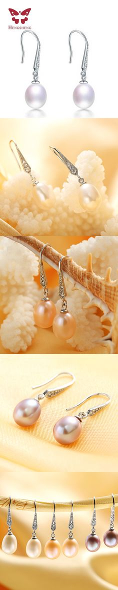 HENGSHENG 2016 Three Color  Natural Real Pearl Earrings High Quality Jewelry Dangle Earrings For Women