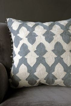 Lattice Cushion by Niki Jones - Pewter & Ecru