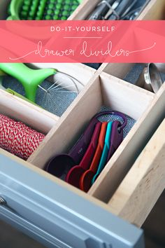 IHeart Organizing: Four Days & Four Drawers Mini Organizing Challenge: DIY Kitchen Utensil Drawer Dividers