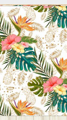 Set of Tropical Floral Patterns by Watercolor Gallery on Creative Market Tropical Wallpaper, Summer Wallpaper, Designer Wallpaper, Pattern Wallpaper, Wallpaper Backgrounds, Iphone Wallpaper, Motifs Textiles, Tropical Pattern, Pattern Drawing