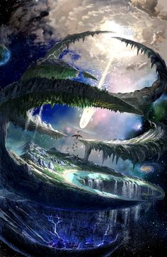 Some sort of strange fantasy world or multiverse, beautiful art and cool potential world building concept Fantasy Places, Fantasy World, Anime Fantasy, Dark Fantasy, Fantasy Setting, Anime Scenery, Fantasy Illustration, Manga Illustration, Art Illustrations