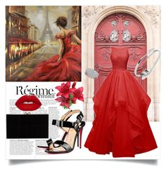 """""""Elegant Dress"""" by nashama ❤ liked on Polyvore featuring Anja, Christian Louboutin, Charlotte Olympia, Rebecca Minkoff, Dorothy Perkins, Kenneth Jay Lane, Lime Crime, red and dress"""
