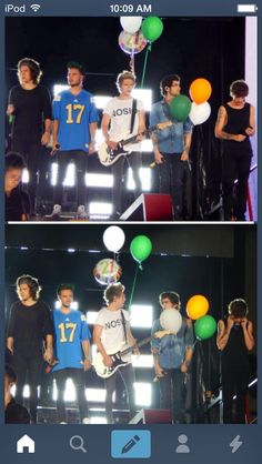 Niall and Zayn with Niall's bday balloons, Rose bowl 9/13