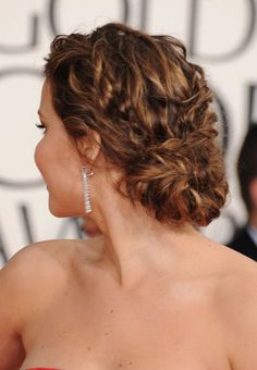 20 Best Wedding Hairstyles - Bride, Wedding Guest, and Maid of Honor Hairstyles - Elle (Jennifer Lawrence) My Hairstyle, Pretty Hairstyles, Hair Updo, Layered Hairstyles, Brown Hairstyles, Tousled Hair, Elegant Hairstyles, Wedding Hair And Makeup, Hair Makeup