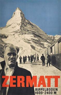 Ski poster for Zermatt featuring Swiss ski champion and Zermatt native Otto Furrer, circa 1934.