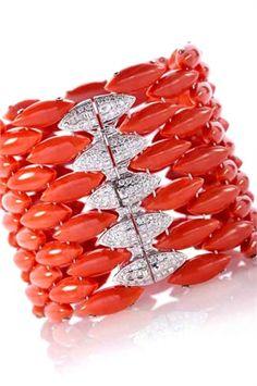 genuine italian sea coral, with precious diamonds and gold, bracelet - Vogue.it (courtesy of Italian Vogue Magazine)