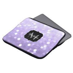 Ultra violet purple sparkly bokeh Monogram Computer Sleeve - monogram gifts unique custom diy personalize