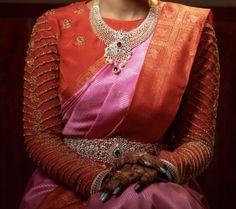 Blouse Designs High Neck, Half Saree Designs, Silk Saree Blouse Designs, Bridal Blouse Designs, Wedding Saree Collection, Bridal Collection, Jewelry Collection, Diamond Necklaces, Diamond Jewelry