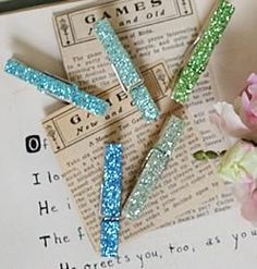 DIY Glitter Clothespin Magnets. What a terrific idea. I'm always looking for something on the fridge to hold things. Gonna make these, or something similar.