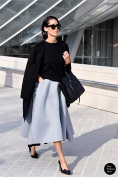 Paris Street Style fashion outfit fashion women chic real spring 2015 skirt black gray