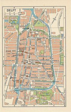 Amsterdam map Vintage map of Amsterdam fine print Vintage maps