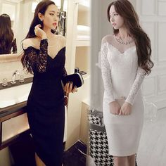 2015 Taylor Blank Space Sexy Cute Luxury Lace Patchwork Slim Long-sleeve Dress  Black and 4e56dab58186