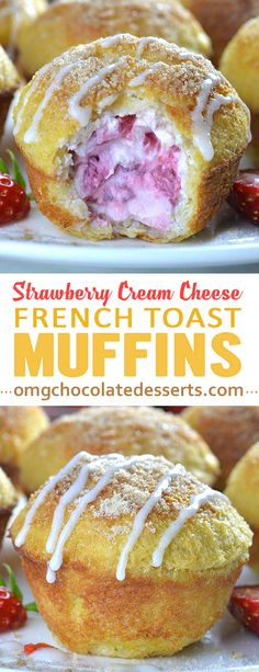 French Toast Muffins stuffed with lots of fresh strawberries and a lots of cream cheese are both fun to make and even more fun to eat! Perfect breakfast idea for weekend breakfast!