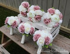 Dusty Rose and Ivory Wedding Bouquet, Wedding Flowers, Bridesmaid Bouquets, Corsage, bridal Flower Package is part of Ivory bouquet wedding These gorgeous handmade wedding bouquets are made from onl - Cascading Bridal Bouquets, Wedding Brooch Bouquets, Bridesmaid Flowers, Bridal Flowers, Bridesmaid Corsage, Dry Flowers, Sola Flowers, Cascade Bouquet, Gold Bouquet