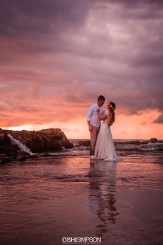 Sunset reflections on a photoshoot in Hawaii with wedding dress Hawaii Elopement, Natural Light Photography, My Images, Portrait Photographers, Maternity, Glamour, Photoshoot, Sunset, Wedding Dresses