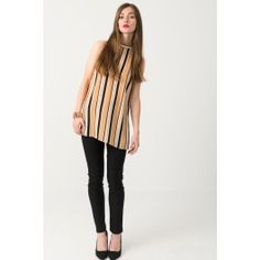 5eeb73945a36f Suzy Shier Striped Halter Blouse With Side Slit  suzyshier Suzy