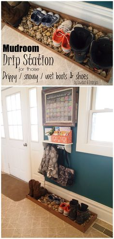 Build a 'Drip Tray' for muddy (or snowy) boots and shoes! {Sawdust and Embryos}