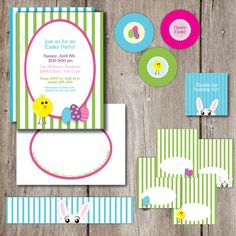 Spring Chick Easter Party Bundle Complete Party by Sweet Pop Studio. Choose from Printable version that you print yourself, or choose to have it professionally printed and cut by us.