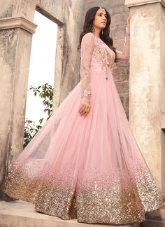 Light Pink Embroidered Net Anarkali Suit features a beautiful net top alongside a santoon bottom and inner. A chiffon dupatta completes the look. Embroidery work is completed with zari, thread, and stone. Bridal Anarkali Suits, Pakistani Bridal Dresses, Bridal Lehenga, Anarkali Lehenga, Indian Wedding Outfits, Bridal Outfits, Wedding Dress, Designer Anarkali Dresses, Designer Dresses
