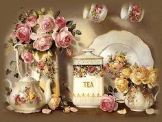 Vintage Tea And Roses - Desktop Nexus Wallpapers Vintage Tea, Vintage Party, Vintage Labels, Victorian Tea Sets, Victorian Era, My Cup Of Tea, Afternoon Tea, Tea Time, Tea Pots