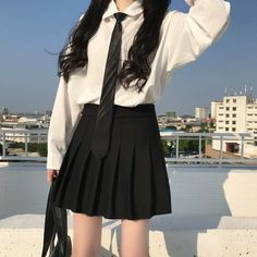 Korean Girl Fashion, Ulzzang Fashion, Kpop Fashion Outfits, Girls Fashion Clothes, Edgy Outfits, Cute Casual Outfits, Girl Outfits, Kawaii Fashion, Cute Fashion