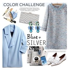 """Rock This Look: Blue and Silver"" by helenevlacho ❤ liked on Polyvore featuring Samsung, contestentry, colorchallenge and blueandsilver"