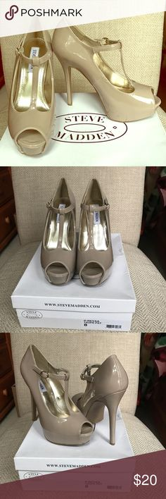 """Nude patent heels by Steve Madden Nude patent heels only worn once.  Like new condition and I still have the original box.  The heel is 5"""" high.   I had a shoe theme bridal shower so I received a lot of shoes (mostly in size 8).  Some still new and some only worn a couple of times so check out my other listings. Steve Madden Shoes Heels"""