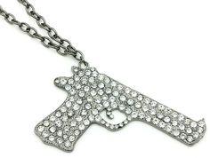 $11 Crystal hand gun 20 inch drop necklace