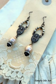 Vintage Religious Connector Pyrite Onyx and Baroque Pearl Dangle One of a Kind Earrings..Blessing. $55.00, via Etsy.