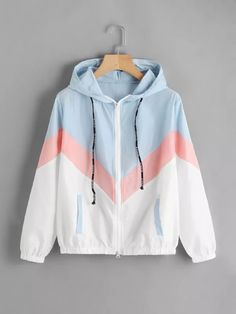 Color Block Chevron Zip Up Jacket -SheIn(Sheinside) Ropa De Mujer 57a1f8fddb89