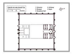 Qars Mushatta (Jordania, siglo VIII). La sala de reuniones es de planta basilical con una especie de ábside trilobulado.