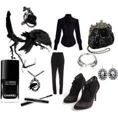 Black jeans, a black undershirt, and my black dress jacket with black heels