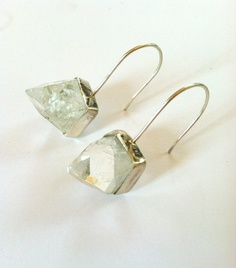 Raw Apophyllite Pyramid Drop Earrings-Sterling Silver. $125.00, via Etsy.