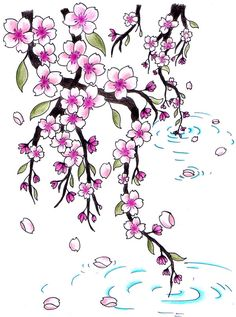 Cherry blossom tattoos have a deeper meaning than just being pretty flowers. On seeing myriad cherry blossom tattoo designs, I realized that. Cherry Blossom Drawing, Cherry Blossom Tree, Blossom Trees, Cherry Tree, Cute Tattoos, Flower Tattoos, Bow Tattoos, Tattoo Sketches, Tattoo Drawings