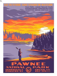 Mark Englert pays tribute to Parks and Recreation with his print Pawnee National Park.