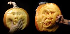Pumpkins Incredible 3D pumpkin carvings made by American sculptor Ray Villafane.