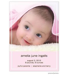 picme!prints That's My Line Tall Pink Girl Photo Birth Announcement