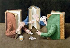 "I libri surreali del pittore e illustratore Wolstenholme. ""The Card Players"" di Jonathan Wolstenholme (Inghilterra 1950). Acquarello su carta, 48 x 34 cm, 2004. Collezione Privata"