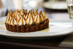 Witch's Tart..#Chocolate tart with #meringue and salted #caramel sauce.