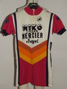 BIKE JERSEY HIGH VINTAGE CYCLING JERSEY 70 S MIKO MERCIER ACRYLIC CYCLES  fb9a771c3