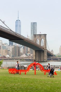 "Whimsical ""Modified Social Bench"" art by Jeppe Hein, at Brooklyn Bridge Park, New York - photo by James Ewing /Public Art Fund, via dezeen"