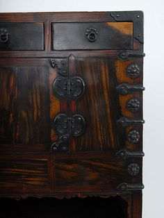 KOREAN TALL CHEST IN PERSIMMON WOOD