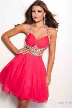 Pink Sexy Crystals Baby Doll Organza Halter Empire Short Prom Dresses