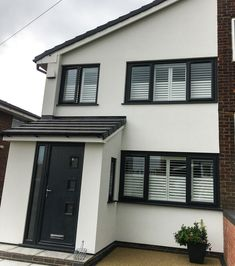 Exterior Before → After of a recent installation in Rochdale A secret split like this customer chose Black Windows Exterior, White Exterior Houses, Grey Windows, House Paint Exterior, House Windows, Black Exterior, Exterior Design, Porch Uk, House Front Porch