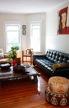 living rooms - pouf morrocan chesterfield Casual living room with ...