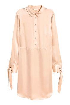 Шелковое платье-рубашка - Светло-бежевый - Женщины | H&M RU 1